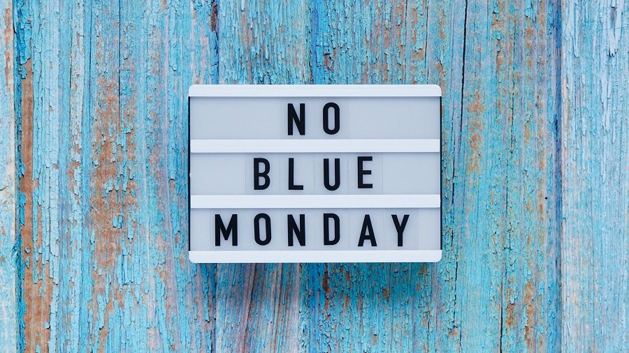 Blue Monday Day Banner Concept. White Board With Text No Blue Mo